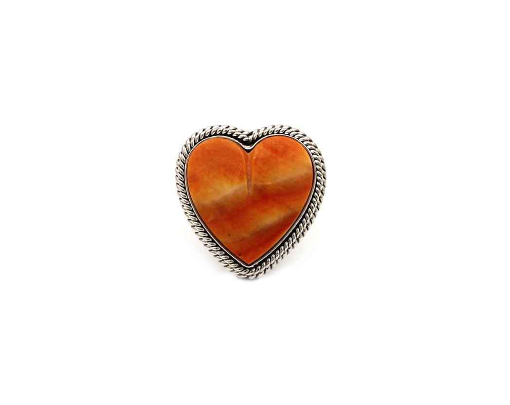 Orange Spiny Oyster Heart Ring