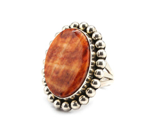 Artie Yellowhorse-Orange Spiny Oyster Ring-Sorrel Sky Gallery-Jewelry
