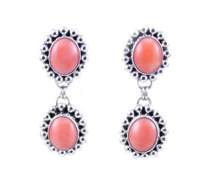 Artie Yellowhorse-Pink Coral Double Drop Earrings-Sorrel Sky Gallery-Jewelry
