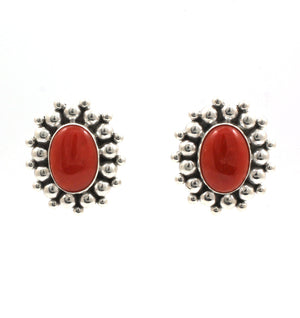 Red Coral Earrings-Jewelry-Artie Yellowhorse-Sorrel Sky Gallery