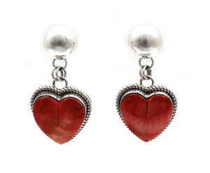 Red Spiny Oyster Heart Earrings-Jewelry-Artie Yellowhorse-Sorrel Sky Gallery