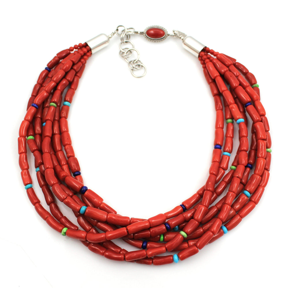 Seven Strand Coral Bead Necklace