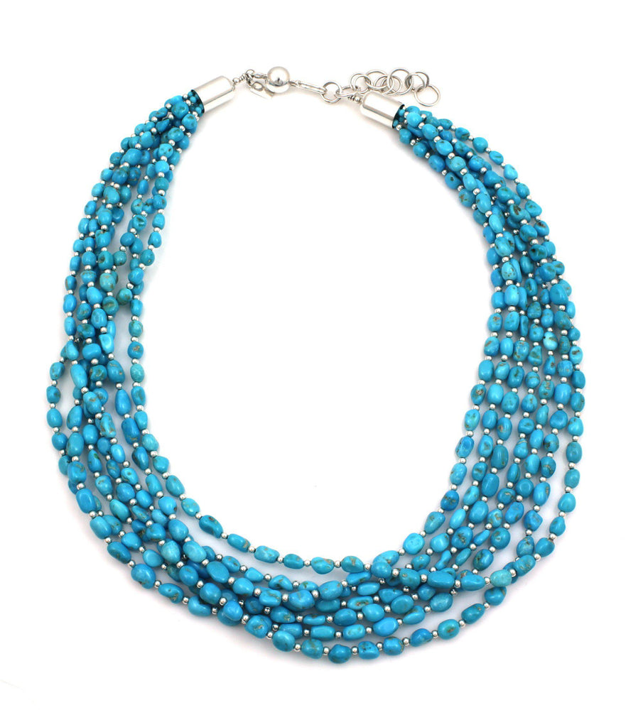 Seven Strand Sleeping Beauty Turquoise Necklace