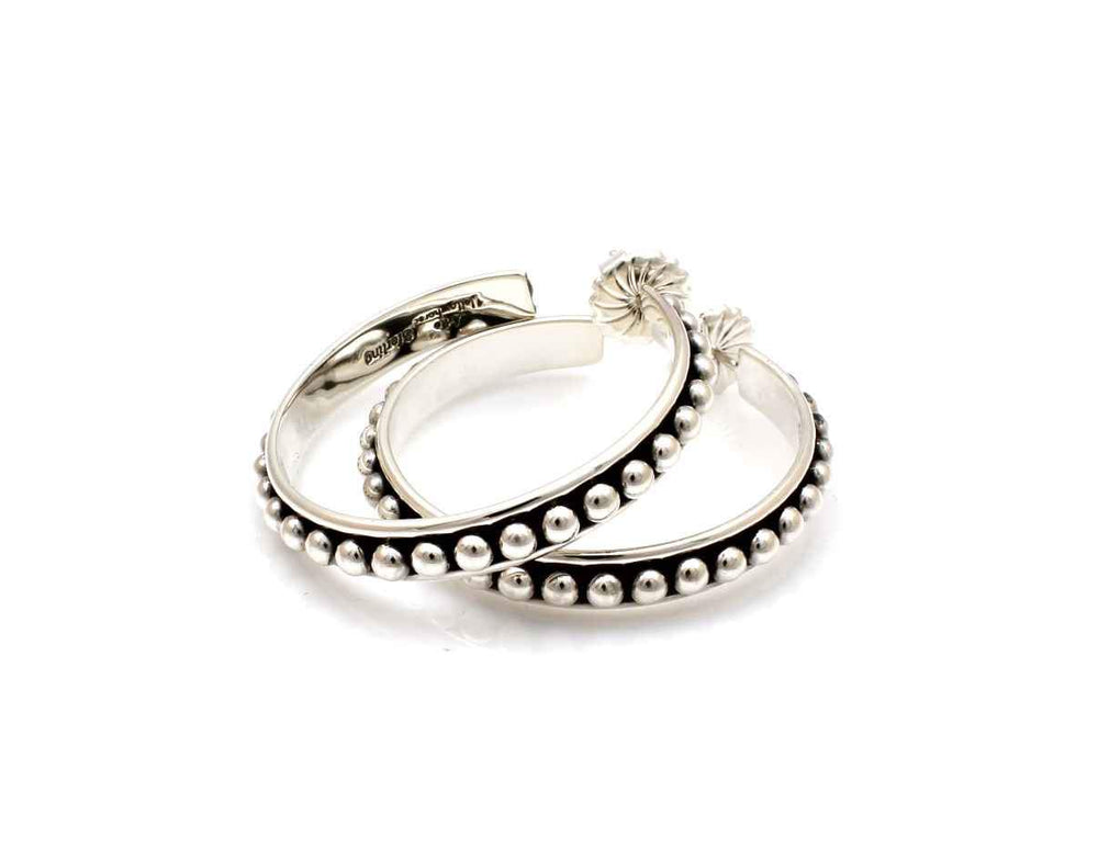 Silver Hoop Earrings 1 3/8""