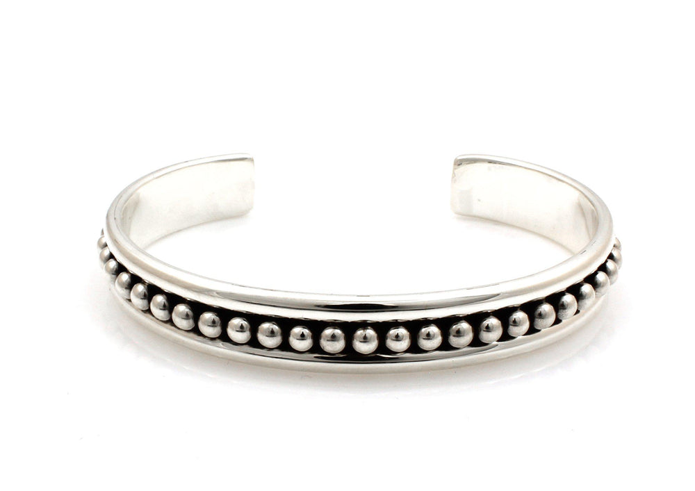 Thin Center Bead Cuff Bracelet