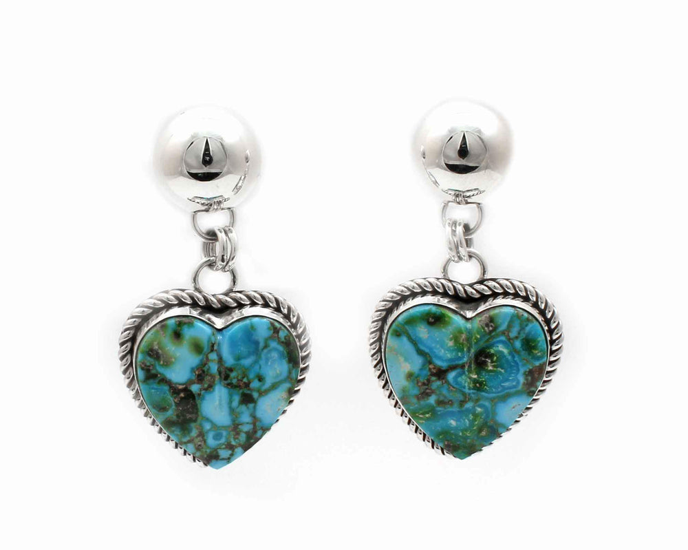 Turquoise Mountain Heart Earrings-Jewelry-Artie Yellowhorse-Sorrel Sky Gallery