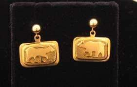 Ben Nighthorse-All Metal Bear Earrings-Sorrel Sky Gallery-Jewelry