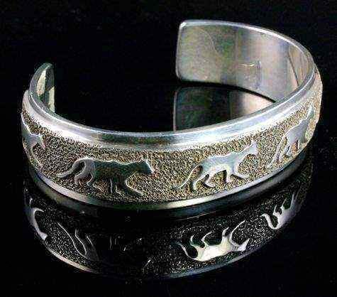 Ben Nighthorse-All Metal Cougars Cuff Bracelet-Sorrel Sky Gallery-Jewelry