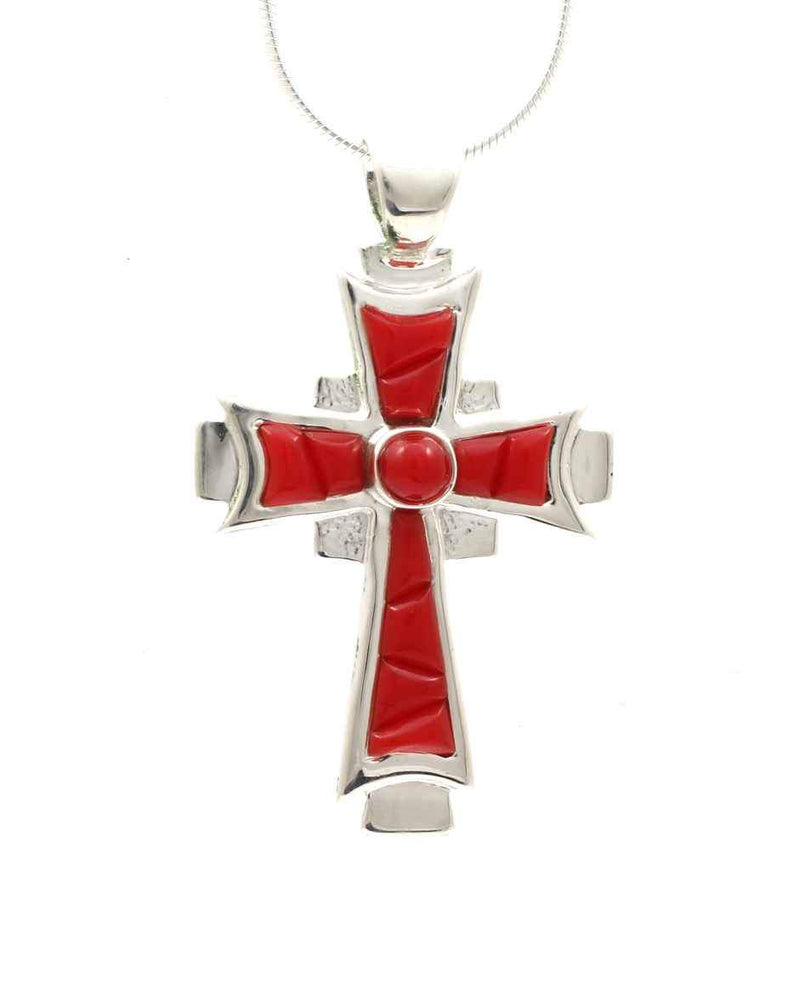 Sterling Silver Celtic Cross Necklace with inlay Rosarita. Ben Nighthorse at Sorrel Sky Gallery