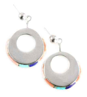 Ben Nighthorse-Circle Edge Inlay Earrings-Sorrel Sky Gallery-Jewelry
