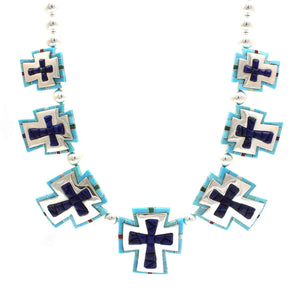 7 cross necklace made of Sterling silver, turquoise and lapis. By Ben Nighthorse at Sorrel Sky Gallery.