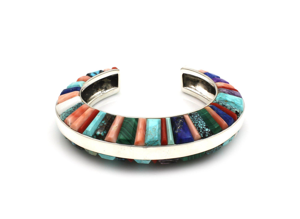Domed Side Inlay Cuff Bracelet