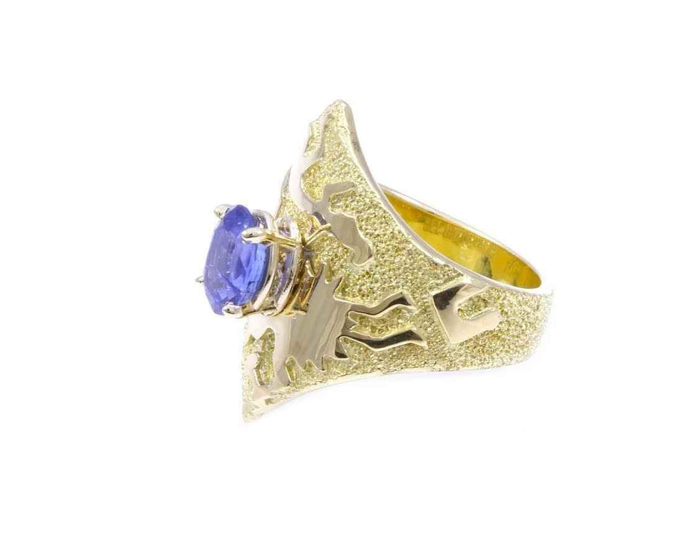 Double V Gold Rock Art Ring With Sapphire