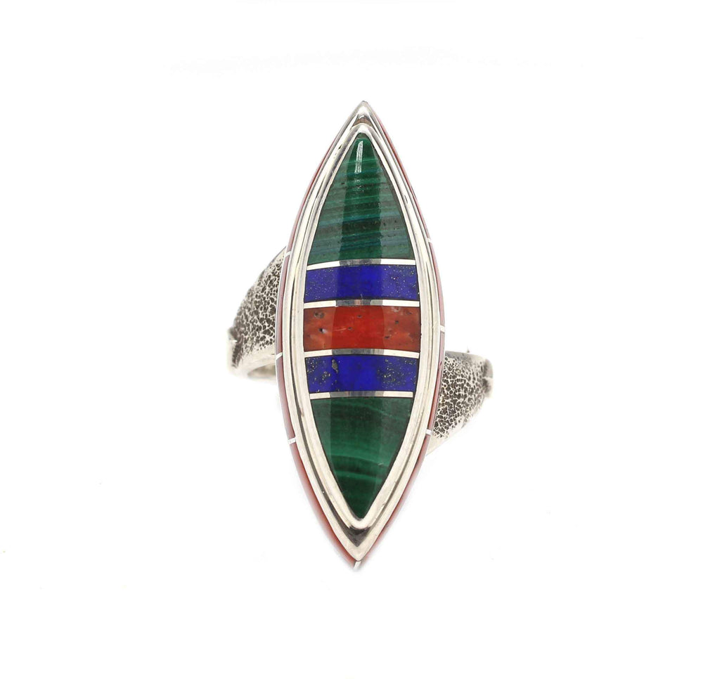 Edge Inlay Marquise Ring