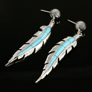 Ben Nighthorse-Feather Earrings-Sorrel Sky Gallery-Jewelry