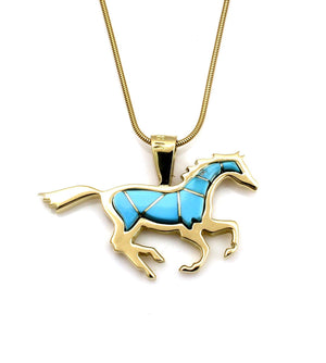 Gold Running Horse Pendant-Jewelry-Ben Nighthorse-Sorrel Sky Gallery