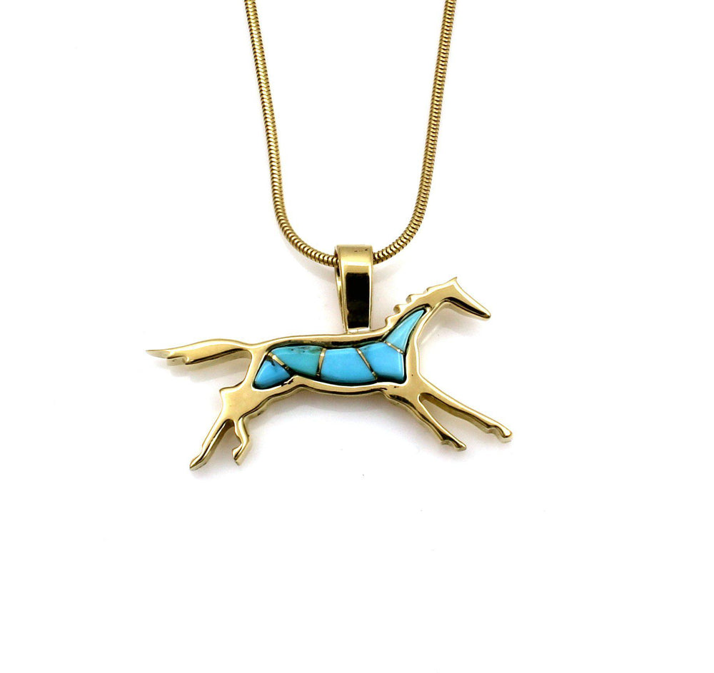 Gold Small Running Horse Pendant-Jewelry-Ben Nighthorse-Sorrel Sky Gallery