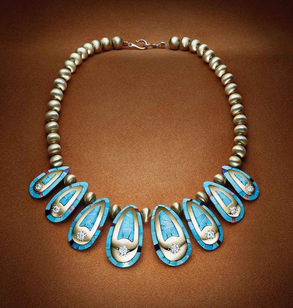 Ben Nighthorse-Golden Tracks Necklace-Sorrel Sky Gallery-Jewelry