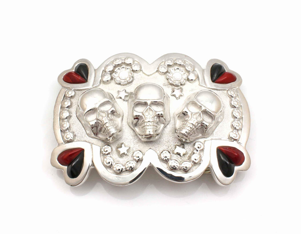 Heart and Skulls Belt Buckle