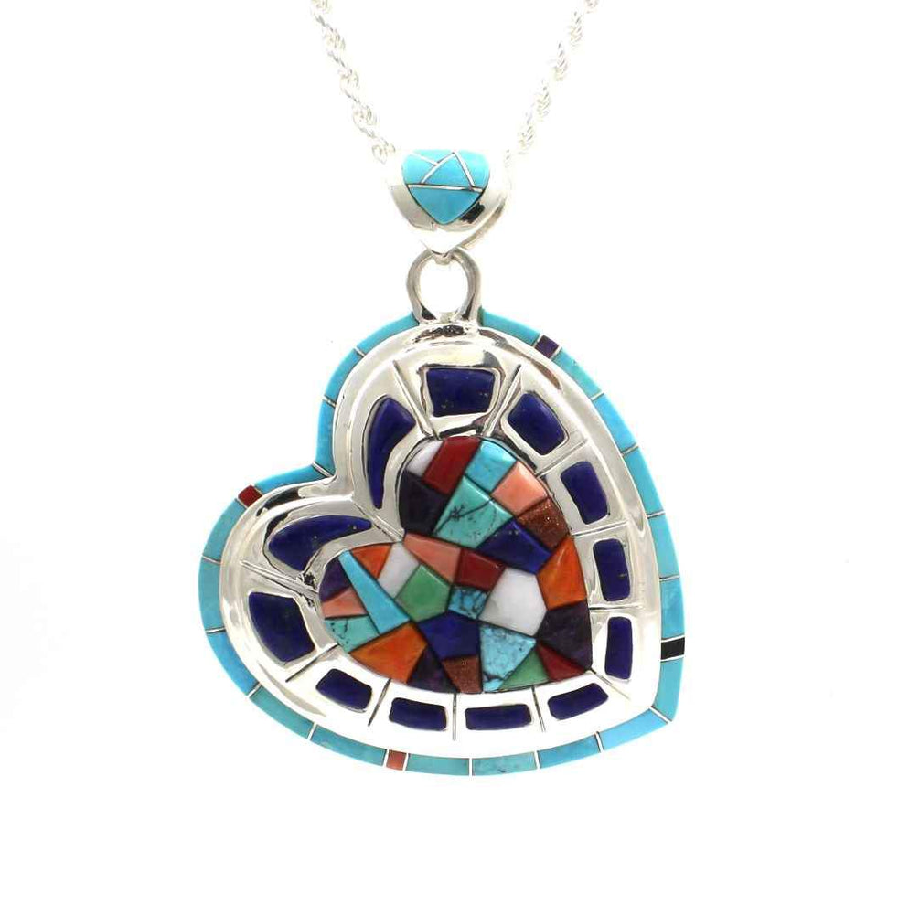 Colorful inlay stone heart pendant.