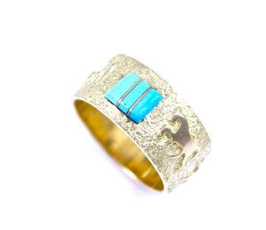 18kt Gold Horse Wedding Band with Turquoise Inlay. Ben Nighthorse-Horse Wedding Band-Sorrel Sky Gallery-Jewelry