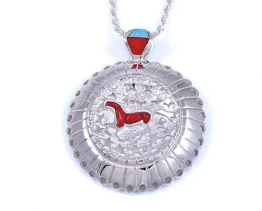 Ben Nighthorse-Horses In The Night Pendant-Sorrel Sky Gallery-Jewelry
