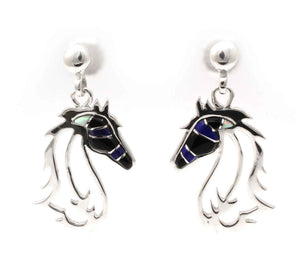 Horses In The Wind Earrings-Jewelry-Ben Nighthorse-Sorrel Sky Gallery