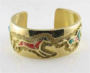 Ben Nighthorse-Inlaid Horse Bracelet-Sorrel Sky Gallery-Jewelry