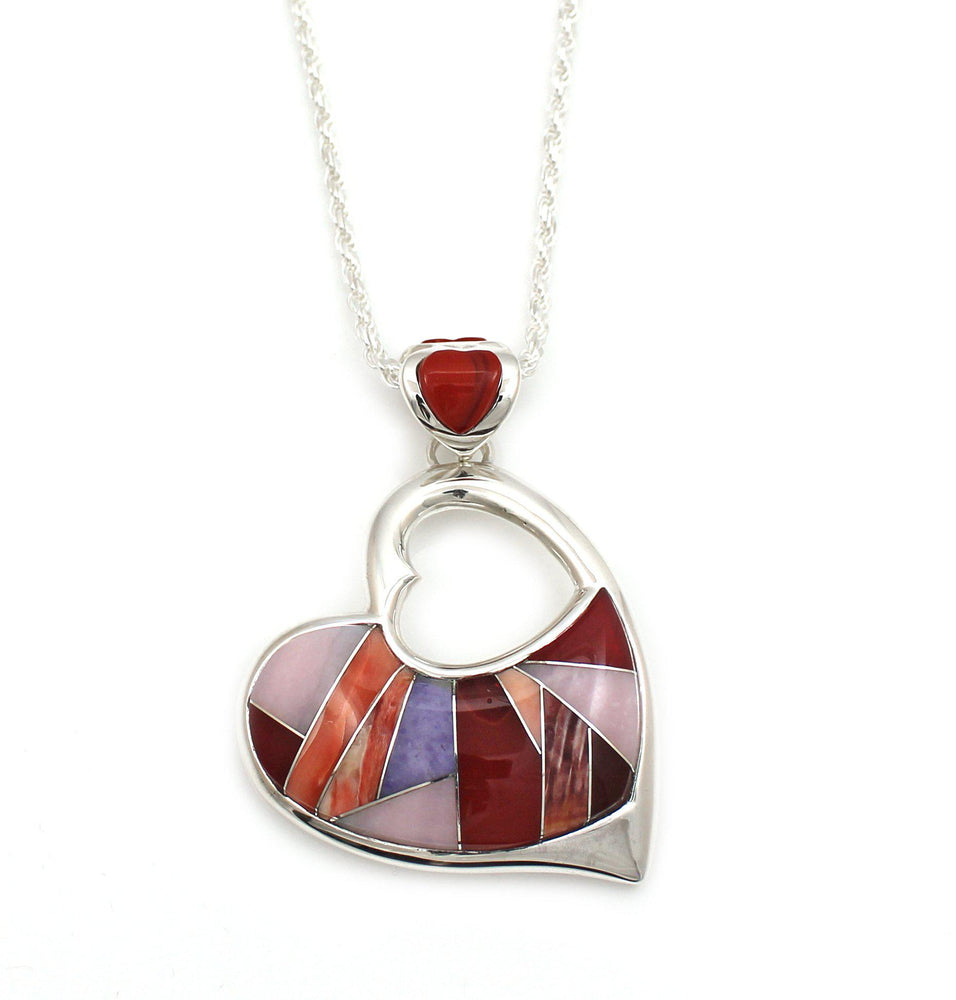 Inlay Heart Pendant-Jewelry-Ben Nighthorse-Sorrel Sky Gallery