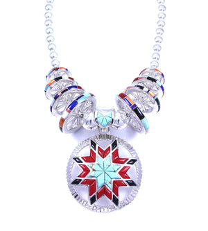Ben Nighthorse-Lakota Sioux Star Wheels Necklace-Sorrel Sky Gallery-Jewelry