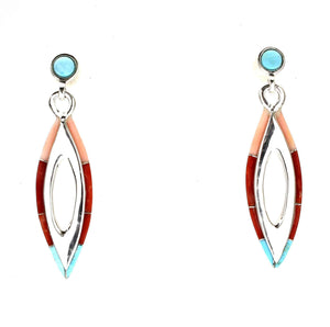 Ben Nighthorse-Long Double V Edge Inlay Earrings-Sorrel Sky Gallery-Jewelry