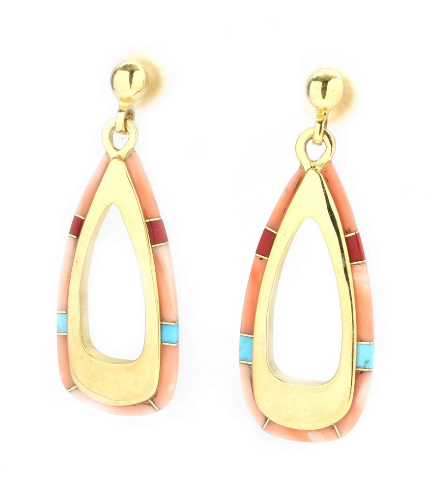 Long Edge Inlay Stirrup Earrings