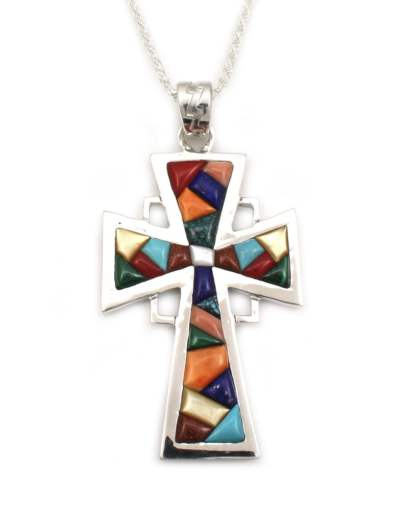 Long Triangle Rock Art Rock Art Cross Pendant