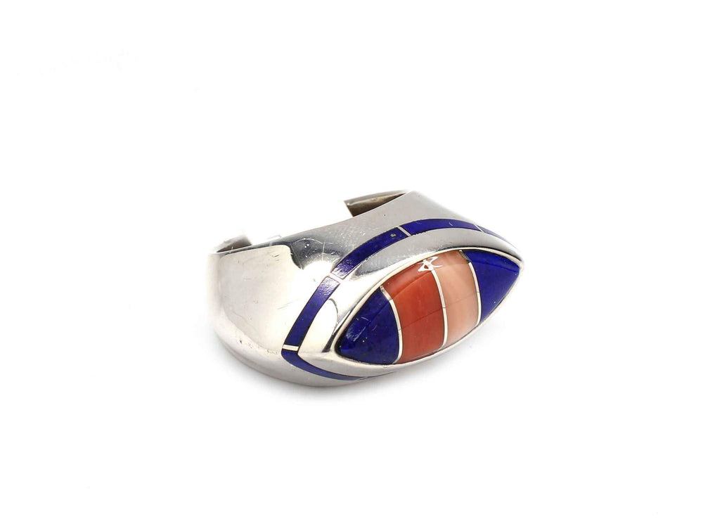 Ben Nighthorse-Man's Marquise Edge Inlay Ring-Sorrel Sky Gallery-Jewelry