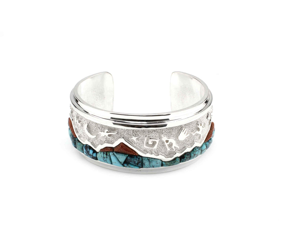 Mountain With Rock Art Cuff Bracelet