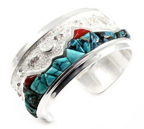 Mountains With Rock Art Bracelet by Ben Nighthorse
