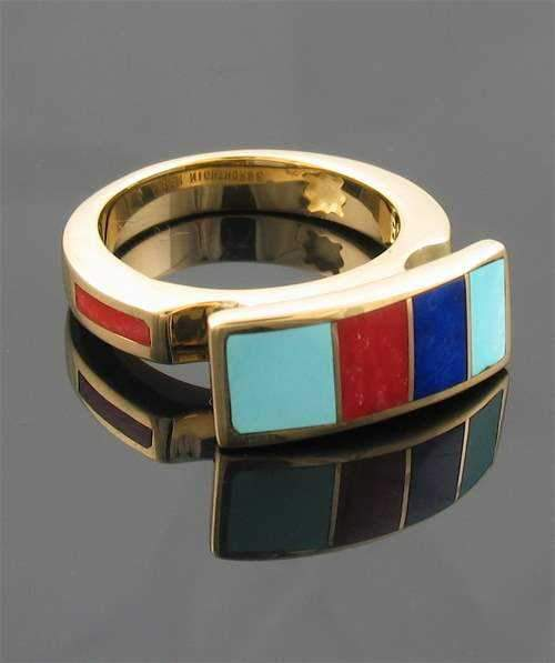 Ben Nighthorse-Raised Rectangular Ring-Sorrel Sky Gallery-Jewelry