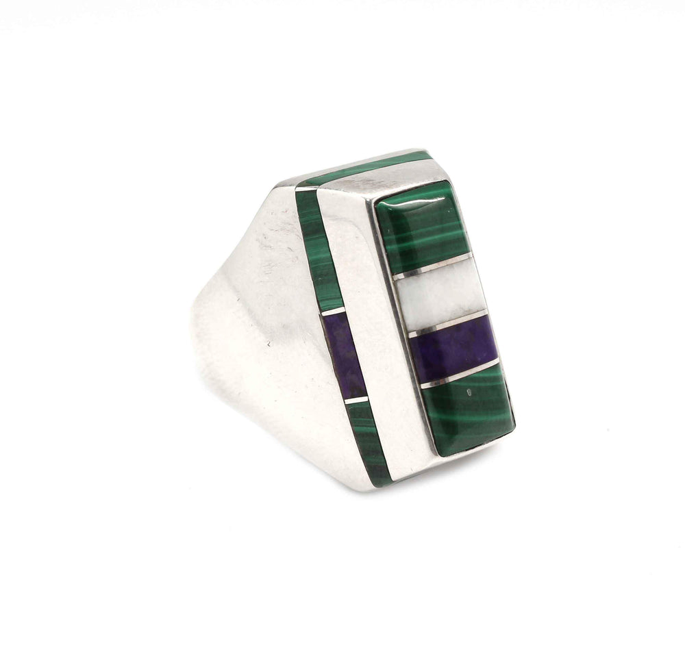 Ben Nighthorse-Rectangular Edge Inlay Ring-Sorrel Sky Gallery-Jewelry