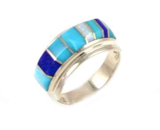 Ben Nighthorse-Rectangular II Inlay Wedding Band-Sorrel Sky Gallery-Jewelry