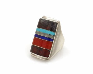 Rectangular Top Inlay III Ring-Jewelry-Ben Nighthorse-Sorrel Sky Gallery