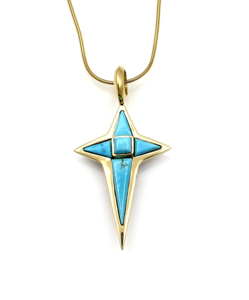 Reversible Gold Star Cross Pendant