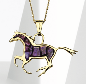 18K gold horse pendant with sugilite inlay
