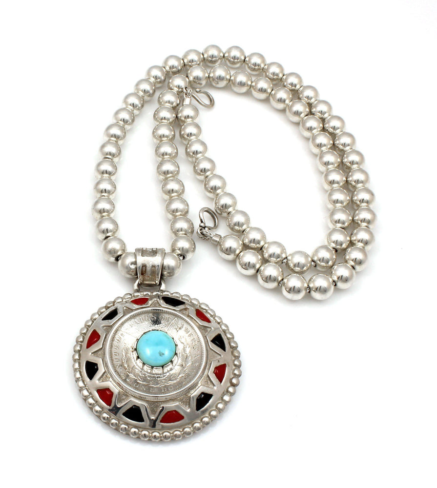 Rock Art Silver Dollar Necklace-Jewelry-Ben Nighthorse-Sorrel Sky Gallery