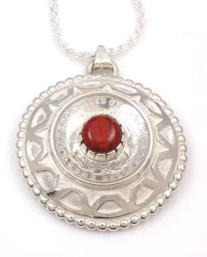 Ben Nighthorse-Rock Art Silver Dollar Pendant-Sorrel Sky Gallery-Jewelry