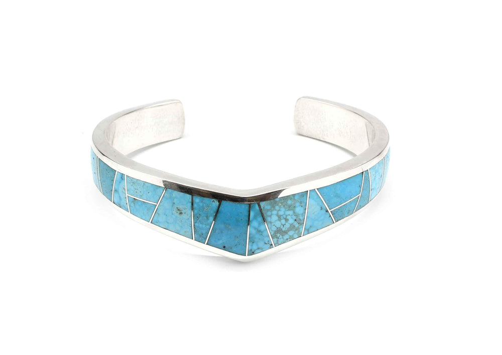 Ben Nighthorse-Single V Top Inlay Cuff Bracelet-Sorrel Sky Gallery-Jewelry