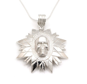 Skull Feathers And Spears Pendant-Jewelry-Ben Nighthorse-Sorrel Sky Gallery