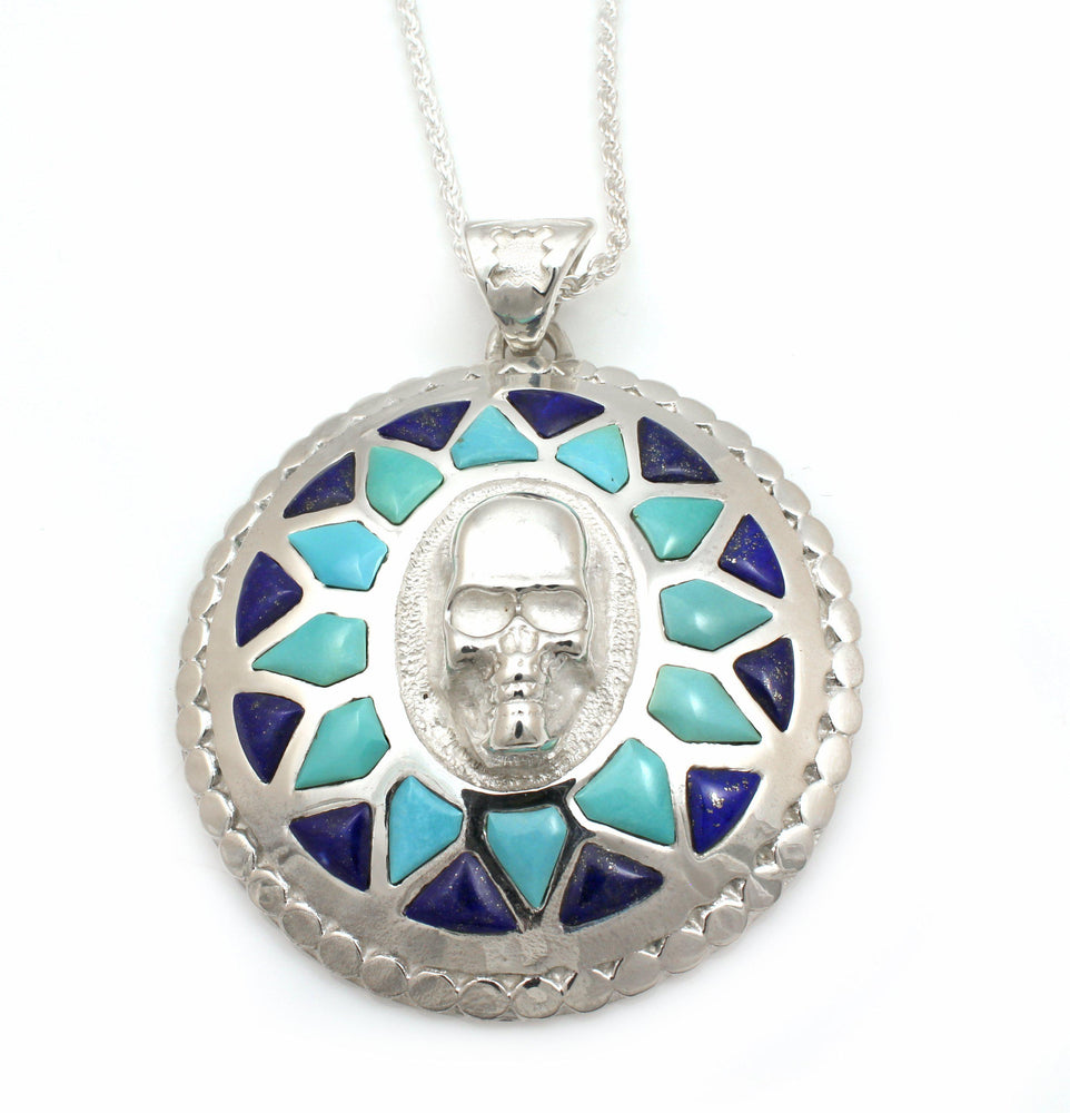 Skull On Round Pendant-Jewelry-Ben Nighthorse-Sorrel Sky Gallery