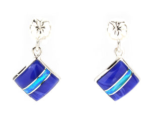 Ben Nighthorse-Square Top Inlay Earrings-Sorrel Sky Gallery-Jewelry
