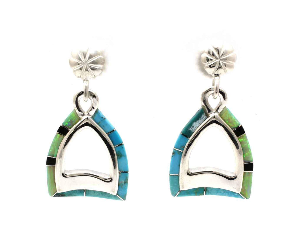 Stirrup Edge Inlay Earrings
