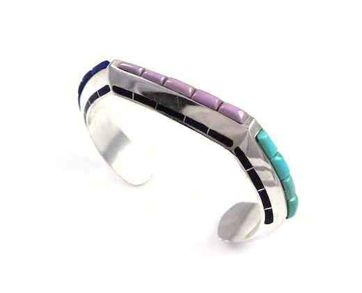 Ben Nighthorse-Triangular With Edge Inlay Bracelet-Sorrel Sky Gallery-Jewelry